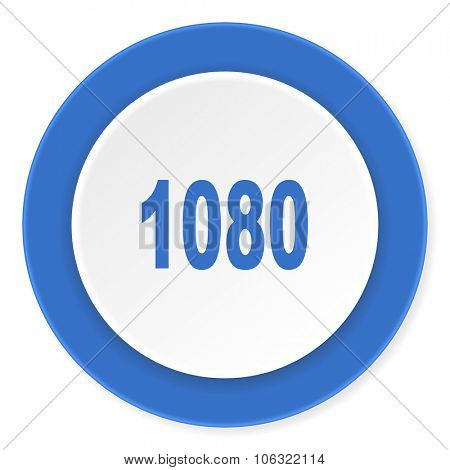 1080 blue circle 3d modern design flat icon on white background
