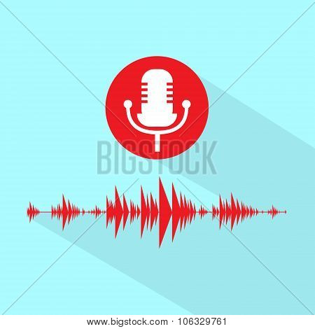 Microphone Red Icon With Sound Wave