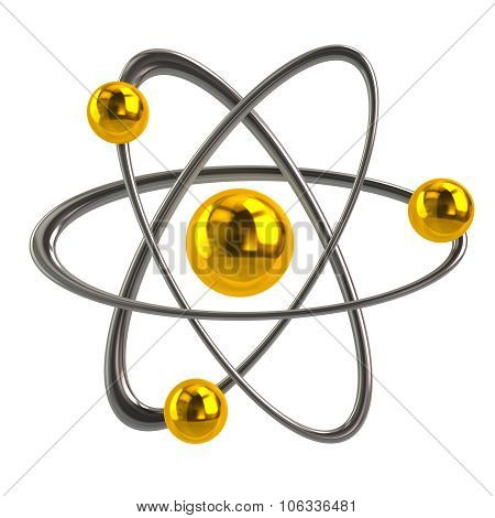 3d illustration of golden atom icon isolated on white background