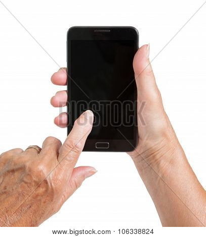 Senior Woman Hand With Smart Phone Isolated