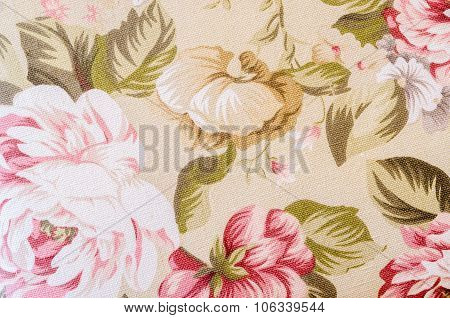 Fragment Of Colorful Retro Tapestry Textile Pattern With Floral.