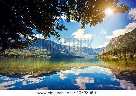 Fantastic mountain lake in Triglav national park. Located in the Bohinj Valley of the Julian Alps. Dramatic unusual scene. Slovenia, Europe. Beauty world.