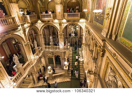 People On Steps In Vienna State Opera House