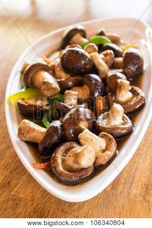 Thai Vegetarian Food Shiitake Mushrooms With Soy Sauce.