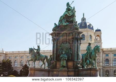 travel to Vienna city - Maria Theresa Monument and Kunsthistorisches Museum (Museum of Art History Museum of Fine Arts) at Maria Theresien Platz Vienna Austria poster