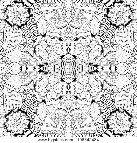 Stock Vector Seamless Floral Black And White Doodle Pattern.
