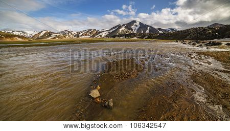 Landmannalaugar colorful mountains landscape view, river from glacier, Iceland poster