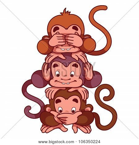 Three wise monkeys.