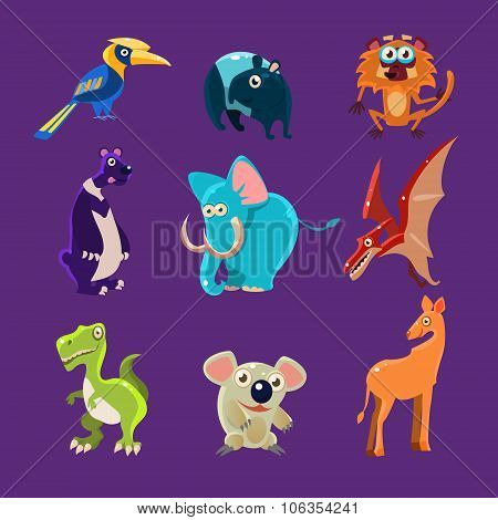 Africa Animals and Dinosaurs with Emotions, Vector Illustration