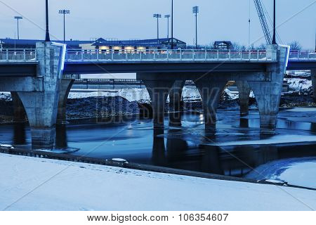Bridge Over Frozen Des Moines River