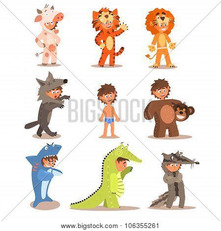 Little Boys Wearing Animal Costumes. Vector Set