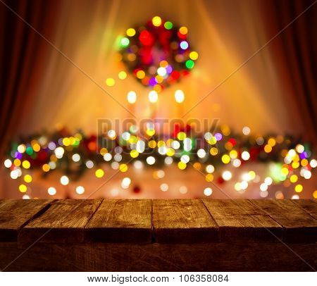 Christmas Table Blurred Lights Background, Wood Desk In Focus, Xmas Wooden Plank, Home Room