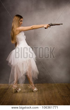 bride with a pistol in his hand poster