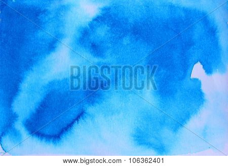 Blue Watercolor Background For Textures And Backgrounds. Ink Illustration.