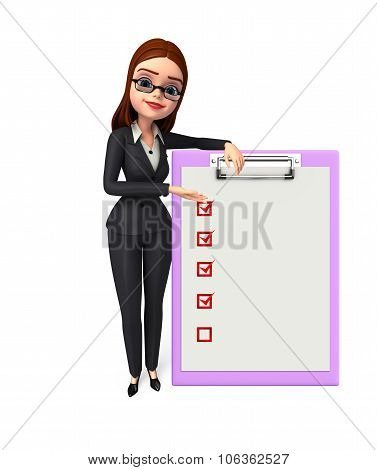 Illustration of Young Business Woman with notepad poster