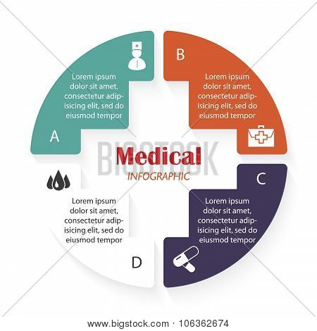 Vector Medical Infographic Template With Four Segments Can Be Used For Presentation,  Chart