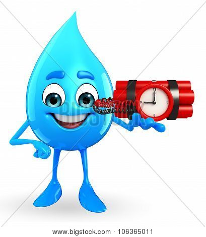 Water Drop Character With Bomb