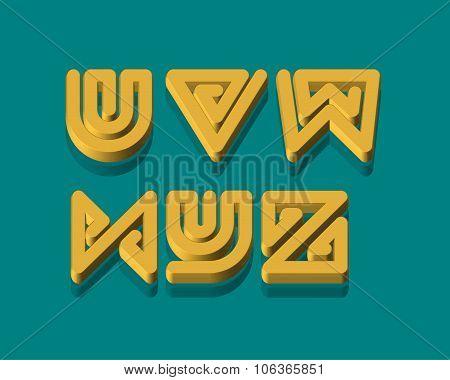 3D Snake Stripe Font Set. U,V,W,X,Y,Z