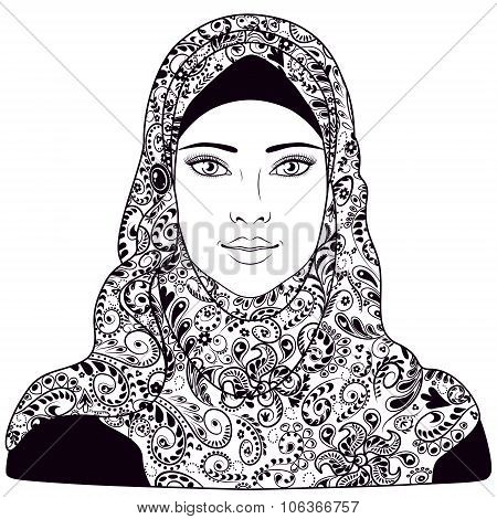 Muslim Girl Dressed In Hijab.