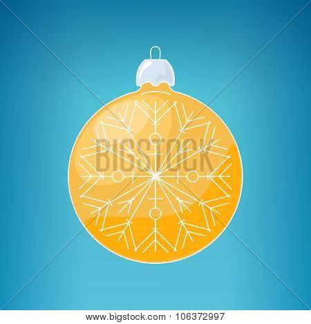 Christmas Yellow Ball With Snowflake