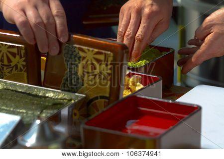 Japan series. Sushi rolls Kimono Japanese food Japanese knife poster