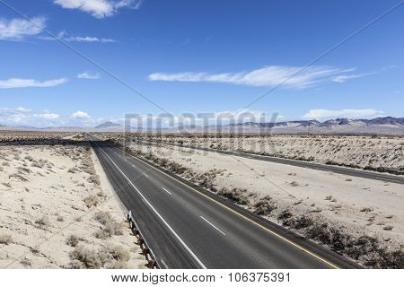 Interstate 15 Freeway south of Las Vegas in the Mojave Desert.