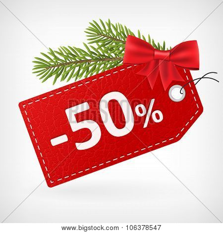 Red Leather Price Christmas Labels Fity Percent Sale Off