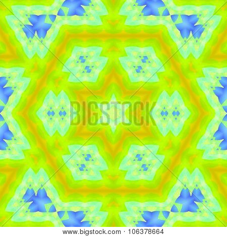 Seamless hexagon pattern yellow green blue