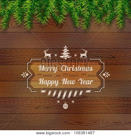 Wooden Background With Top Pine Branches