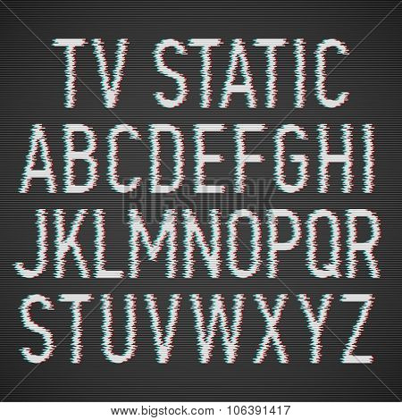 TV static effect font. Vector.