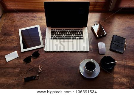 Mock up of successful person with luxury accessories and work tools