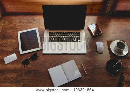 Mock up of hipster workplace with luxury accessories and distance work tools laptop