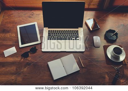 Mock up of rich business person workplace with luxury accessories