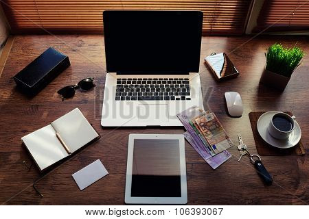 Mock up of hipster workplace with luxury accessories and work tools