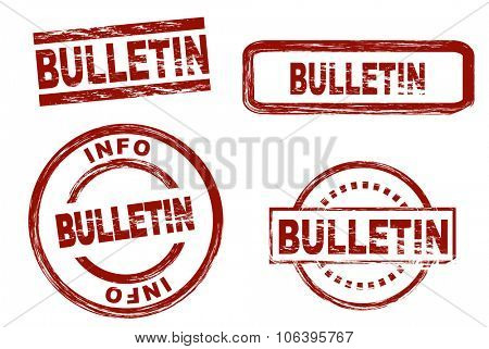 Set of stylized stamps showing the term bulletin. All on white background.
