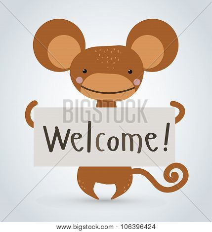 Monkey ape wild cartoon animal holding clean welcome board vector
