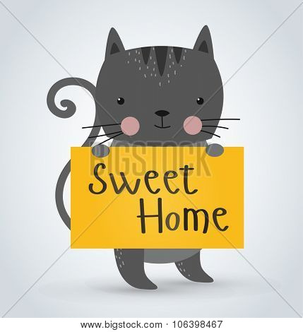 Cat pet animal holding clean welcome sweet home board vector cartoon. Pets vector kitty. Home pets gray cat. Cat cartoon illustration. Vector cat holding white sale board. Cat holding Welcome text