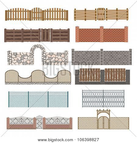 Different designs of fences and gates isolated on a white background. Fences and gates illustration. Fences and gates vector isolated. Wooden fence, metall fence, stone fence. Fence house buildings