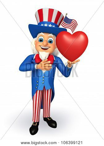 3d rendered illustration of  uncle sam with heart poster