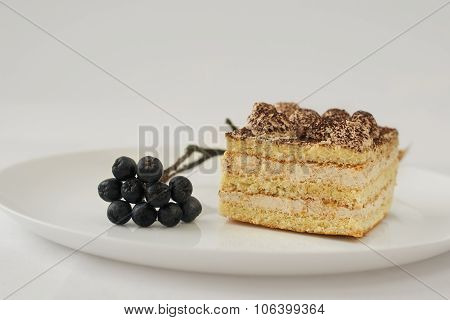 white cake with cocoa and chokeberry