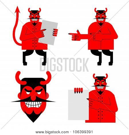 Set Satana And Devil. Daemon In Different Poses. Scary Red Demon Shows Blank. Beelzebubs Head With S