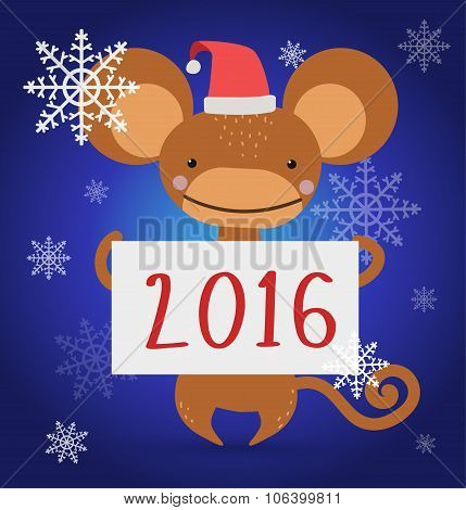 New Year Christmas monkey ape wild cartoon animal holding 2016 board vector