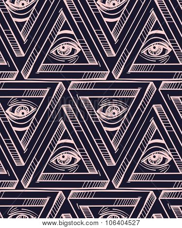 All seeing eye seamless pattern.