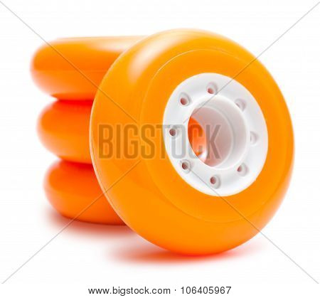 Orange wheels isolated over white