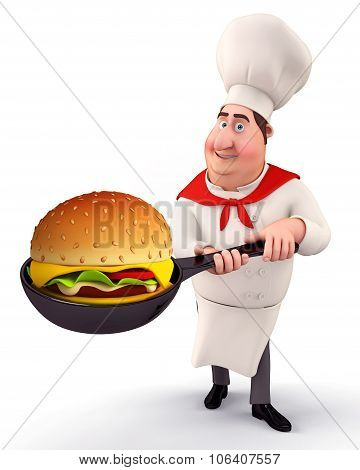 3d rendered Illustration of young chef with burger poster