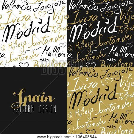Travel Spain Europe Seamless Pattern Gold Madrid