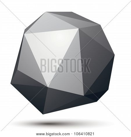 3D vector abstract design object polygonal complicated figure. Grayscale three-dimensional deformed shape render. poster