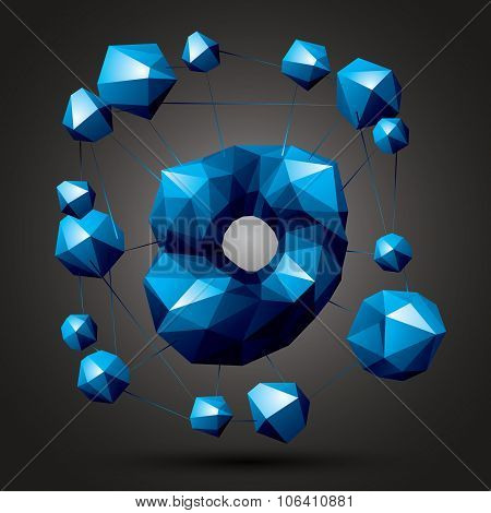 Spatial Vector Bright Object Isolated, 3D Technology Figure With Geometric Colorful Connected Elemen