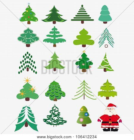 Collection Of Christmas Trees + Santa Claus