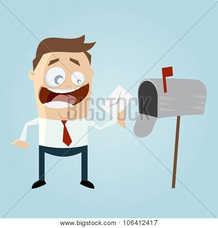 funny cartoon man with letterbox